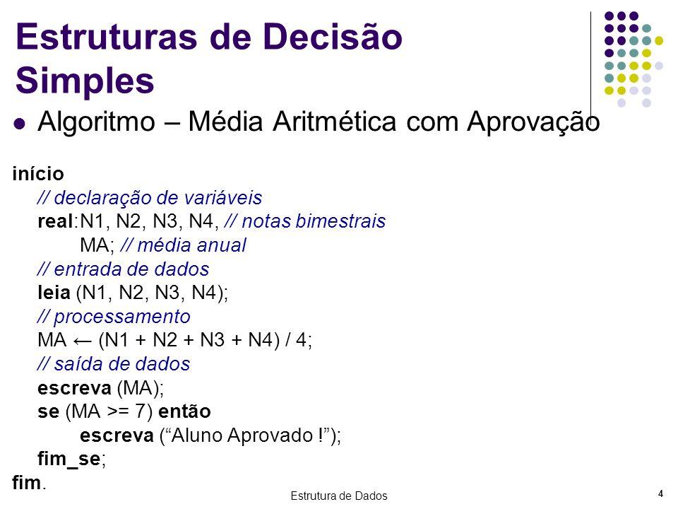 Estrutura de Dados 5 Estruturas de Decisão Composta Algoritmo – Média Aritmética com aprovação e reprovação início // declaração de variáveis real:N1, N2, N3, N4, // notas bimestrais MA; // média anual leia (N1, N2, N3, N4); MA (N1 + N2 + N3 + N4) / 4; escreva (MA); se (MA >= 7) então início escreva (Aluno Aprovado!); escreva (Parabéns!); fim; senão início escreva (Aluno Reprovado!); escreva (Estude mais!); fim; fim_se; fim.