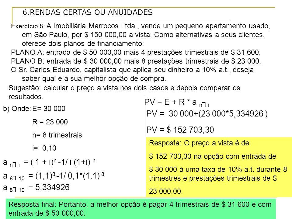 6.RENDAS CERTAS OU ANUIDADES Exercício 8: A Imobiliária Marrocos Ltda., vende um pequeno apartamento usado, em São Paulo, por $ 150 000,00 a vista. Co