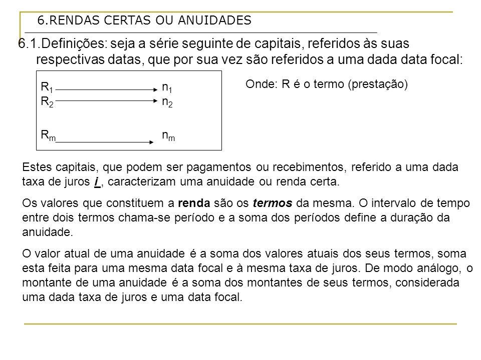 6.RENDAS CERTAS OU ANUIDADES Exercício 9: Qual é a anuidade periódica equivalente a um valor anual de $ 10 000,00, se forem observadas as taxas e prazos abaixo: Taxas de jurosprazo a) 2,5% a.m.24 meses b) 4 % a.m.12 meses c) 30% a.a.5 anos a) Onde:PV = 10 000 n= 24 meses i= 0,025 R = 10 000/ 17,884986 a n i = ( 1 + i) n -1/ i (1+i) n a 24 2,5 = (1,025) 24 -1/ 0,025*(1,025) 24 R = PV / a n i R = $ 559,13 Resposta: o valor do termo ou anuidade periódica é de $ 559,13, a uma taxa de 2,5% a.m., por 24 meses.