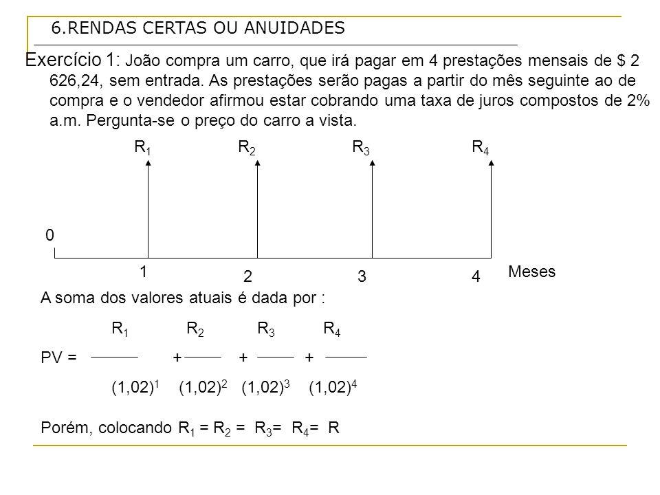 6.RENDAS CERTAS OU ANUIDADES Exercício 9: Qual é a anuidade periódica equivalente a um valor anual de $ 10 000,00, se forem observadas as taxas e prazos abaixo: Taxas de jurosprazo a) 2,5% a.m.24 meses b) 4 % a.m.12 meses c) 30% a.a.5 anos b) Onde:PV = 10 000 n= 12 meses i= 0,04 R = 10 000/ 9,385074 a n i = ( 1 + i) n -1/ i (1+i) n a 12 4 = (1,04) 12 -1/ 0,04*(1,04) 12 R = PV / a n i R = $ 1 065,52 Resposta: o valor do termo ou anuidade periódica é de $ 1 065,52, a uma taxa de 4% a.m.