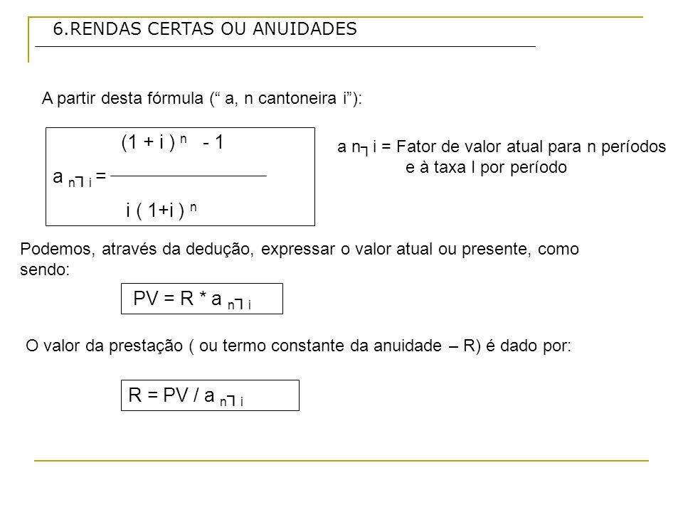 6.RENDAS CERTAS OU ANUIDADES (1 + i ) n - 1 a n i = i ( 1+i ) n R = PV / a n i A partir desta fórmula ( a, n cantoneira i): Podemos, através da deduçã