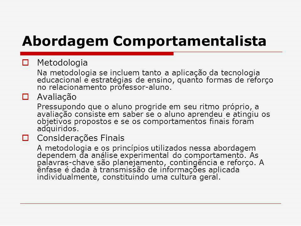 Abordagem Comportamentalista Metodologia Na metodologia se incluem tanto a aplicação da tecnologia educacional e estratégias de ensino, quanto formas