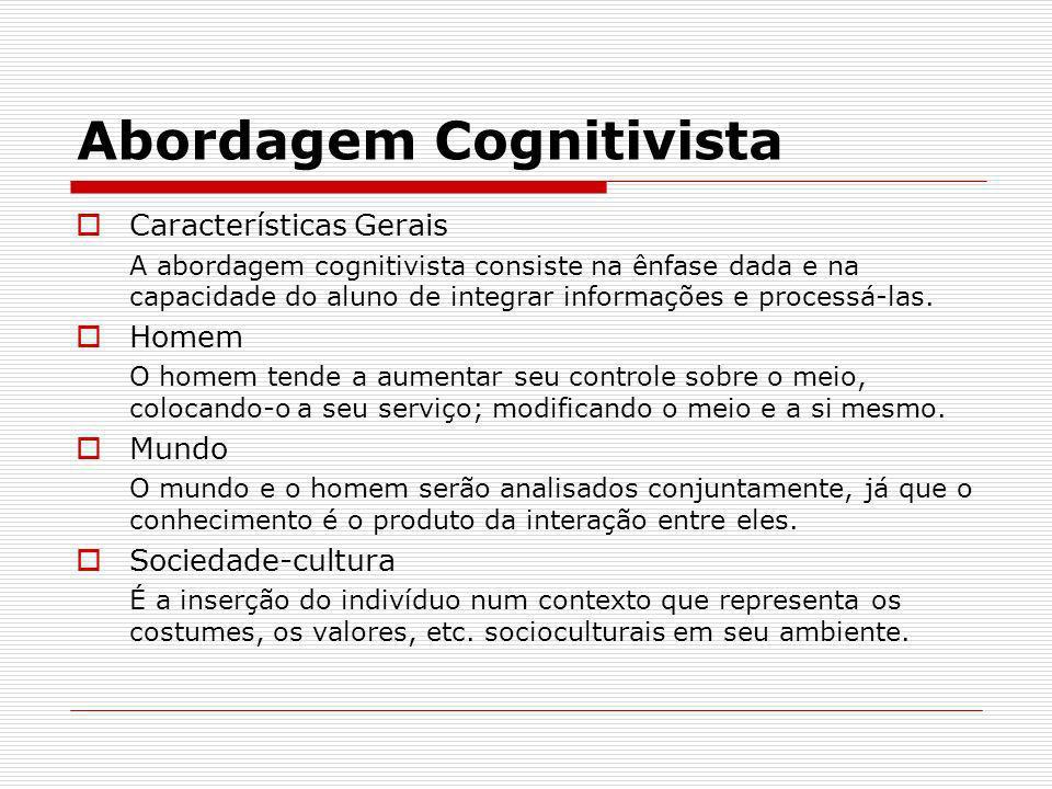 Abordagem Cognitivista Características Gerais A abordagem cognitivista consiste na ênfase dada e na capacidade do aluno de integrar informações e proc