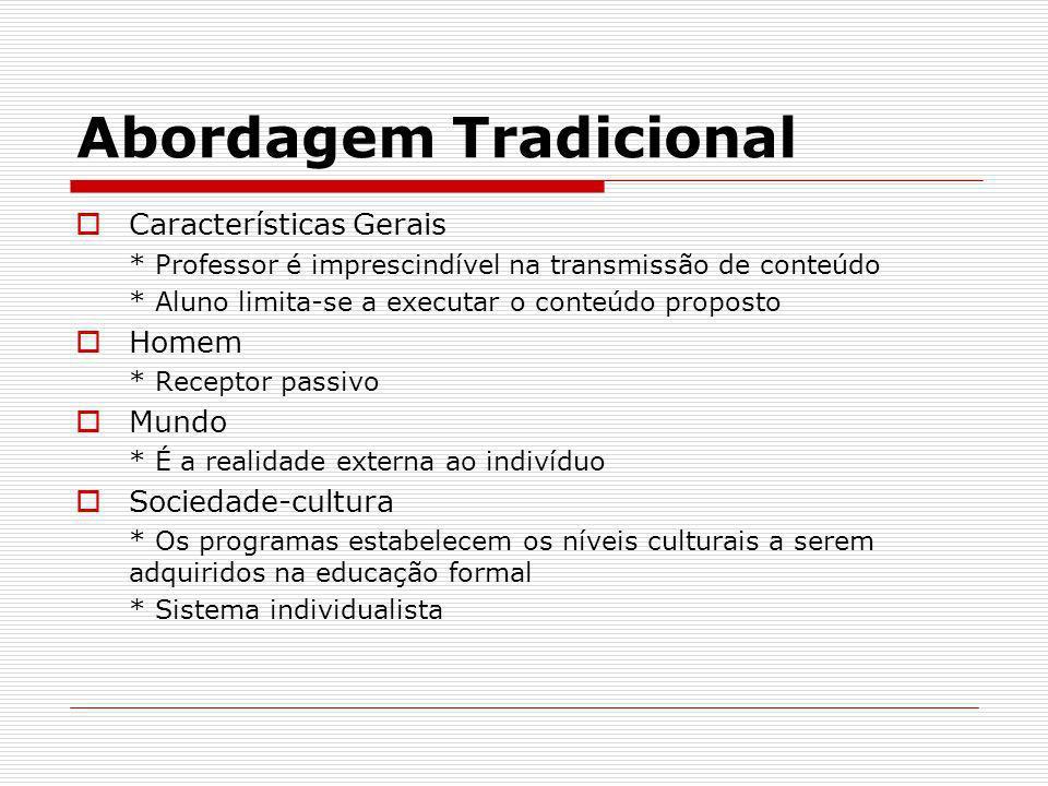Abordagem Tradicional Características Gerais * Professor é imprescindível na transmissão de conteúdo * Aluno limita-se a executar o conteúdo proposto