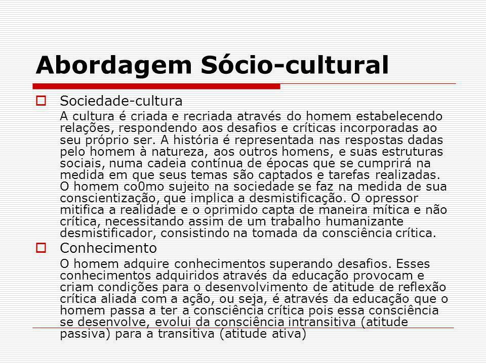 Abordagem Sócio-cultural Sociedade-cultura A cultura é criada e recriada através do homem estabelecendo relações, respondendo aos desafios e críticas
