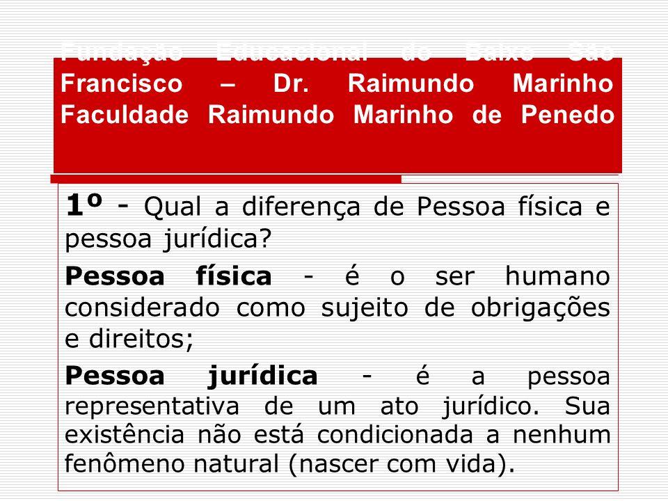 Fundação Educacional do Baixo São Francisco – Dr. Raimundo Marinho Faculdade Raimundo Marinho de Penedo 1º - Qual a diferença de Pessoa física e pesso
