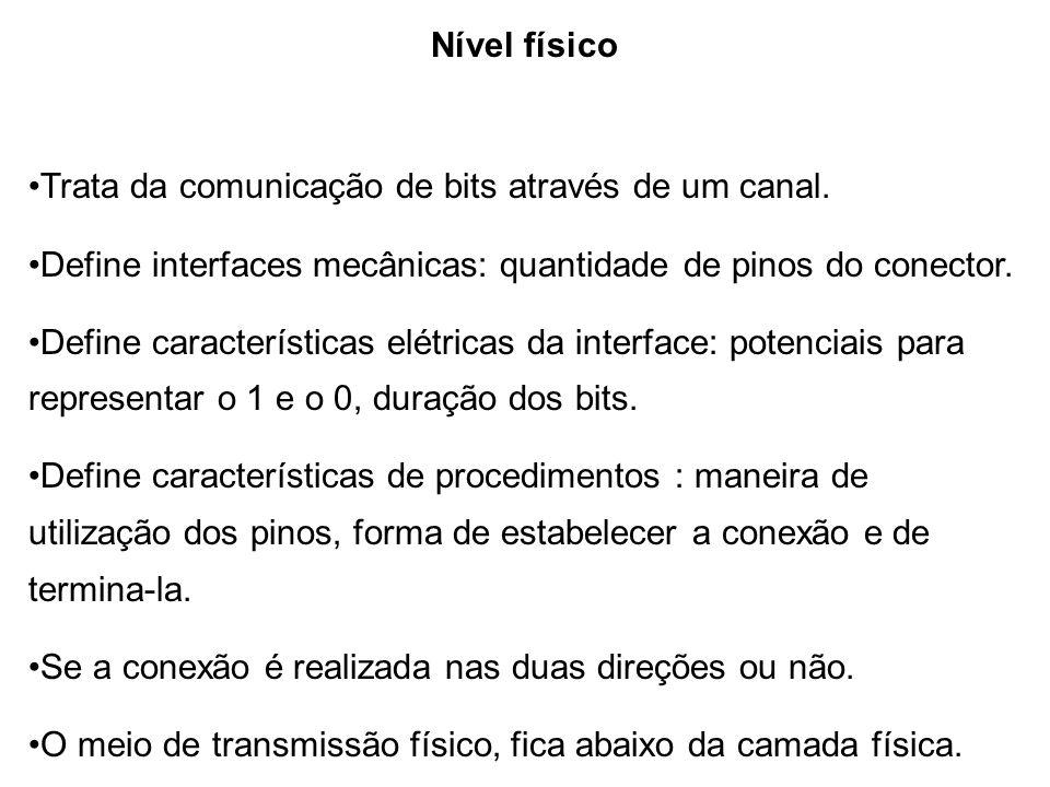Nível físico Trata da comunicação de bits através de um canal. Define interfaces mecânicas: quantidade de pinos do conector. Define características el