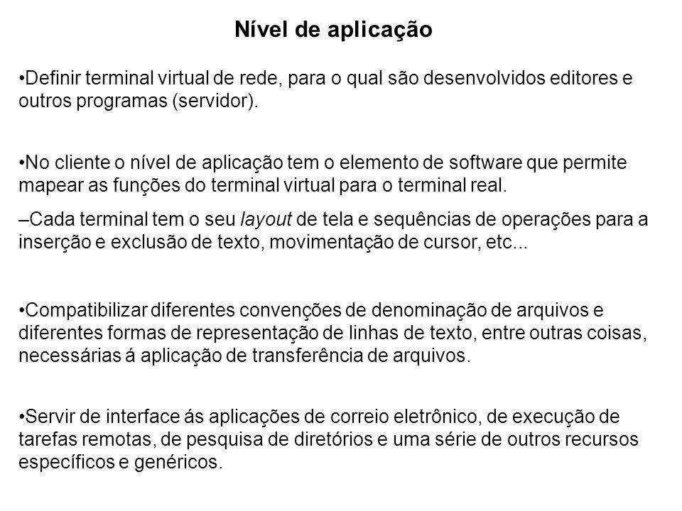Nível de aplicação Definir terminal virtual de rede, para o qual são desenvolvidos editores e outros programas (servidor). No cliente o nível de aplic
