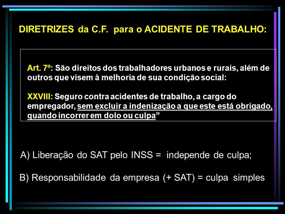 DIRETRIZES da C.F. para o ACIDENTE DE TRABALHO: Art. 7º: São direitos dos trabalhadores urbanos e rurais, além de outros que visem à melhoria de sua c