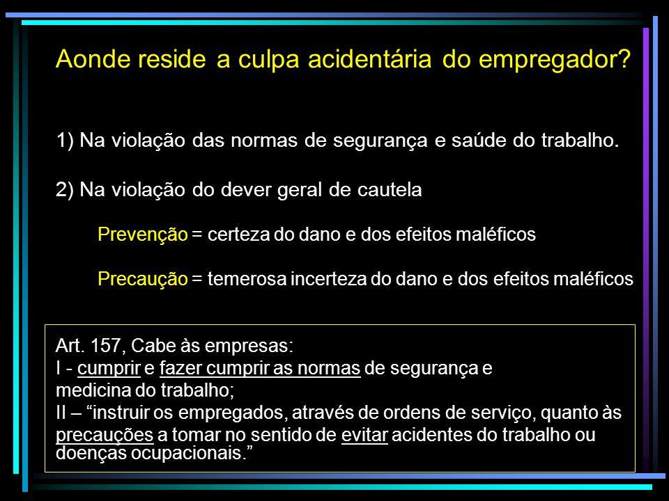 Aonde reside a culpa acidentária do empregador? 1) Na violação das normas de segurança e saúde do trabalho. 2) Na violação do dever geral de cautela P