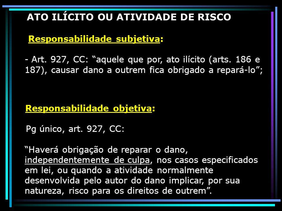 ATO ILÍCITO OU ATIVIDADE DE RISCO Responsabilidade subjetiva: - Art. 927, CC: aquele que por, ato ilícito (arts. 186 e 187), causar dano a outrem fica