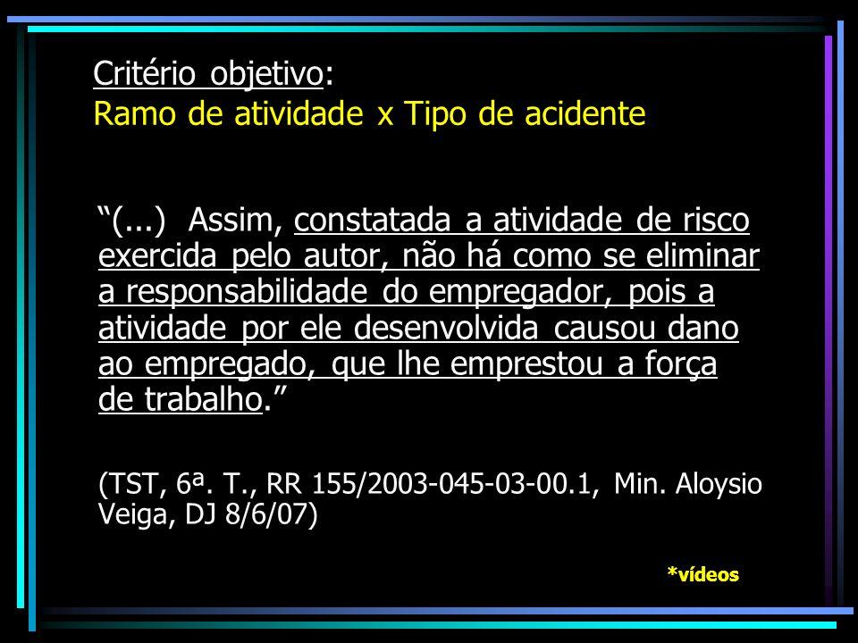 Critério objetivo: Ramo de atividade x Tipo de acidente (...) Assim, constatada a atividade de risco exercida pelo autor, não há como se eliminar a re