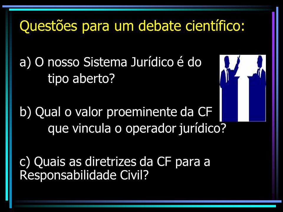Questões para um debate científico: a) O nosso Sistema Jurídico é do tipo aberto? b) Qual o valor proeminente da CF que vincula o operador jurídico? c
