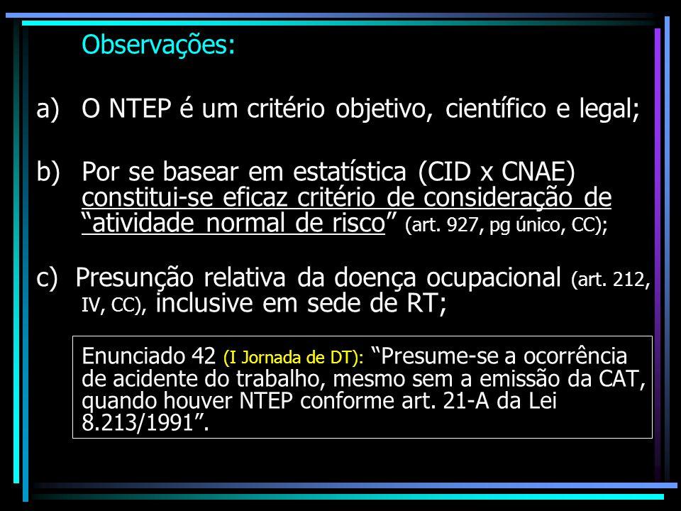 Observações: a) O NTEP é um critério objetivo, científico e legal; b) Por se basear em estatística (CID x CNAE) constitui-se eficaz critério de consideração de atividade normal de risco (art.