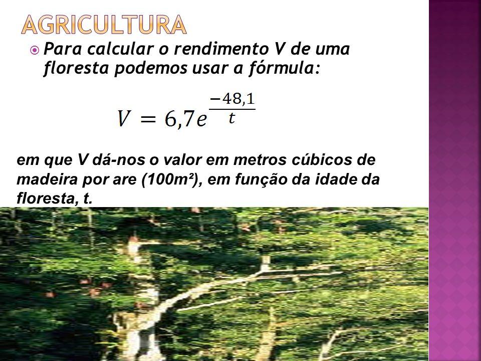 Para calcular o rendimento V de uma floresta podemos usar a fórmula: em que V dá-nos o valor em metros cúbicos de madeira por are (100m²), em função d