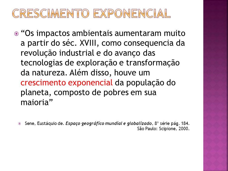 Os impactos ambientais aumentaram muito a partir do séc. XVIII, como consequencia da revolução industrial e do avanço das tecnologias de exploração e