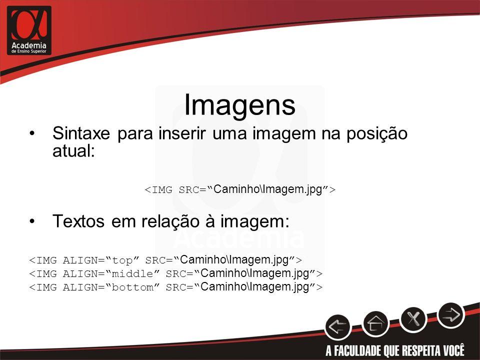 Imagens Sintaxe para inserir uma imagem na posição atual: Textos em relação à imagem: