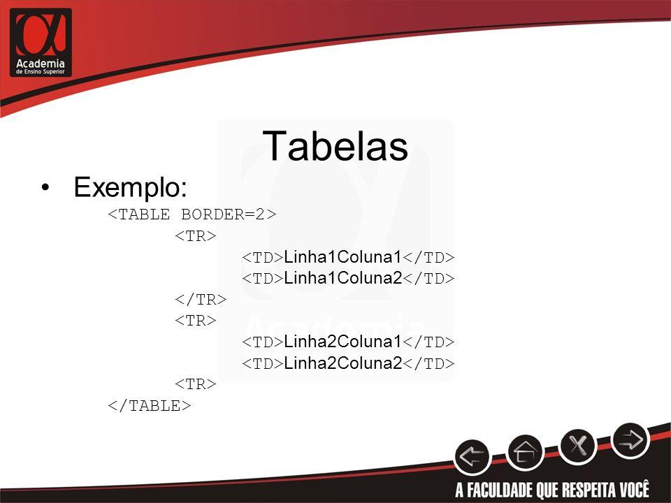 Tabelas Exemplo: Linha1Coluna1 Linha1Coluna2 Linha2Coluna1 Linha2Coluna2