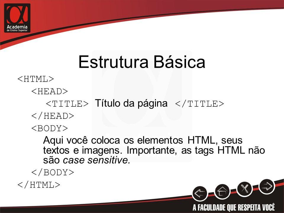 Estrutura Básica Título da página Aqui você coloca os elementos HTML, seus textos e imagens. Importante, as tags HTML não são case sensitive.