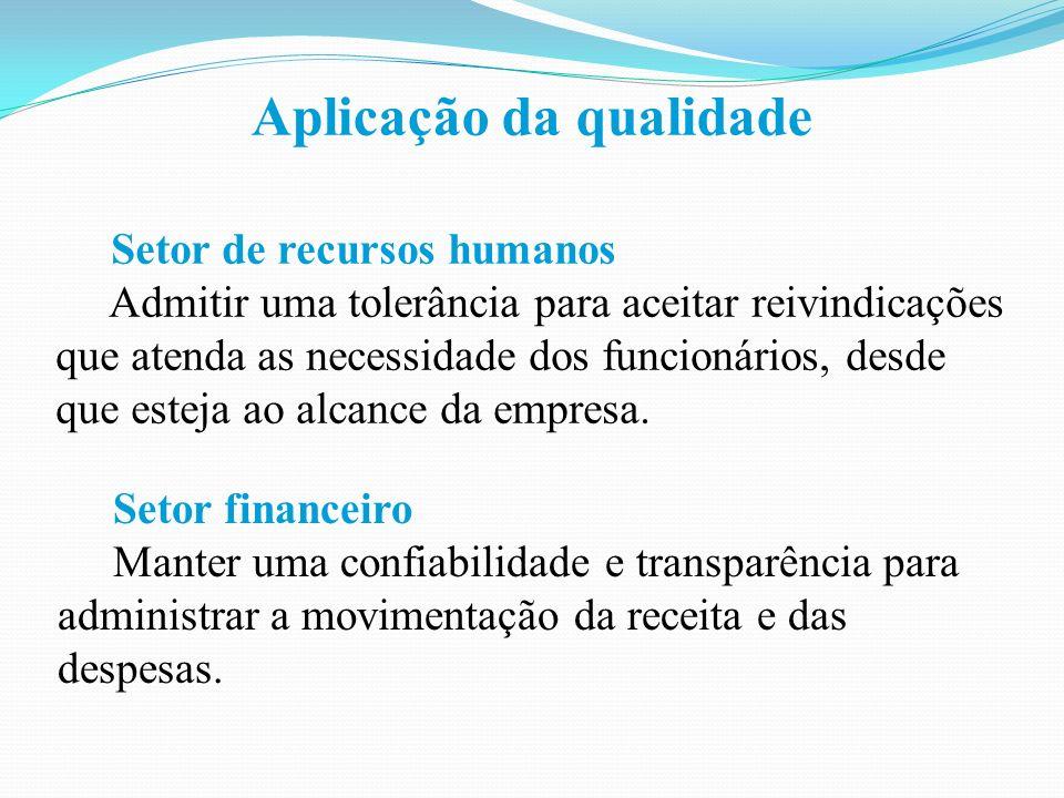 Aplicação da qualidade Setor de recursos humanos Admitir uma tolerância para aceitar reivindicações que atenda as necessidade dos funcionários, desde que esteja ao alcance da empresa.