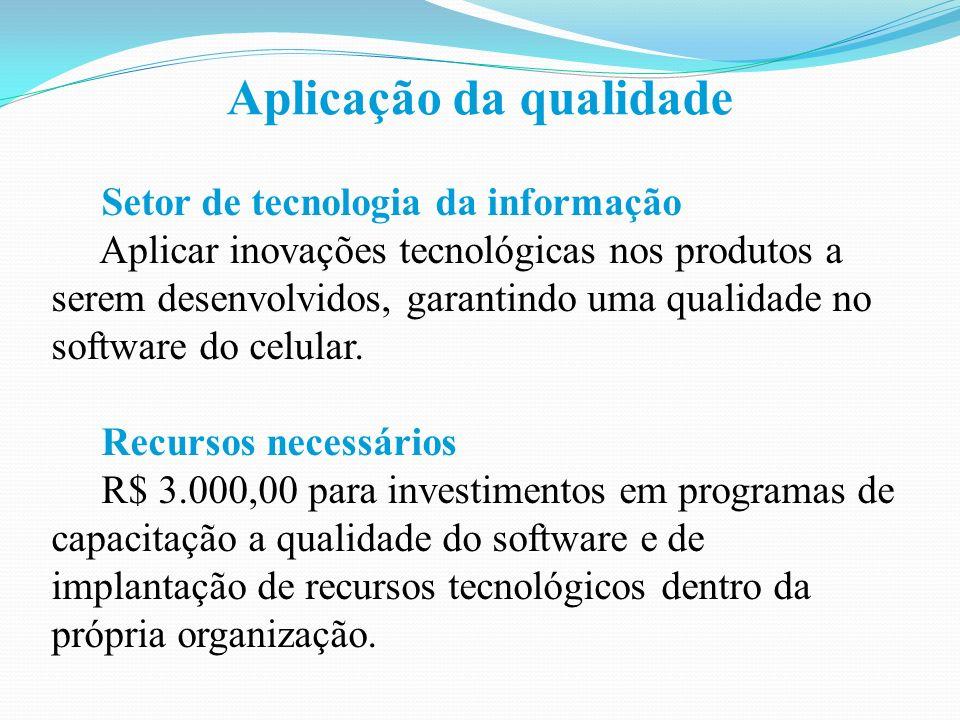 Aplicação da qualidade Setor de tecnologia da informação Aplicar inovações tecnológicas nos produtos a serem desenvolvidos, garantindo uma qualidade no software do celular.