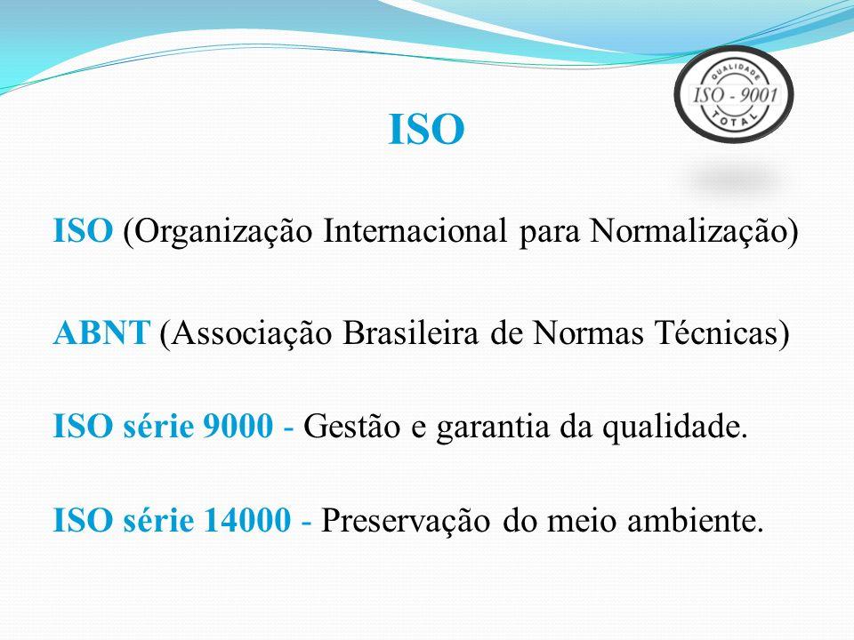 ISO ISO (Organização Internacional para Normalização) ABNT (Associação Brasileira de Normas Técnicas) ISO série 9000 - Gestão e garantia da qualidade.