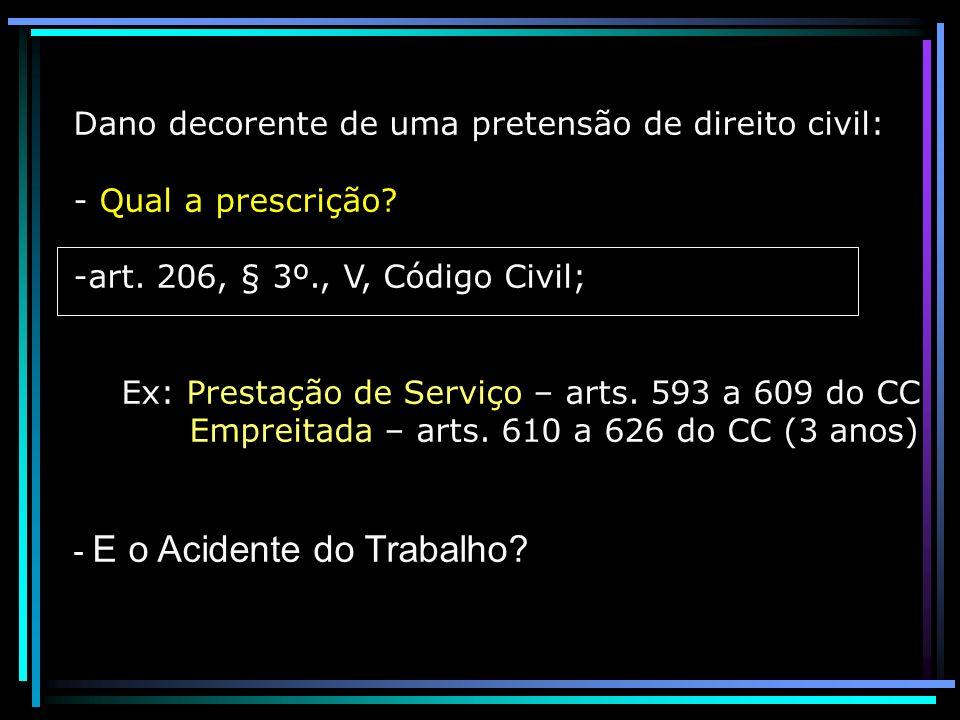 Dano decorente de uma pretensão de direito civil: - Qual a prescrição? -art. 206, § 3º., V, Código Civil; Ex: Prestação de Serviço – arts. 593 a 609 d