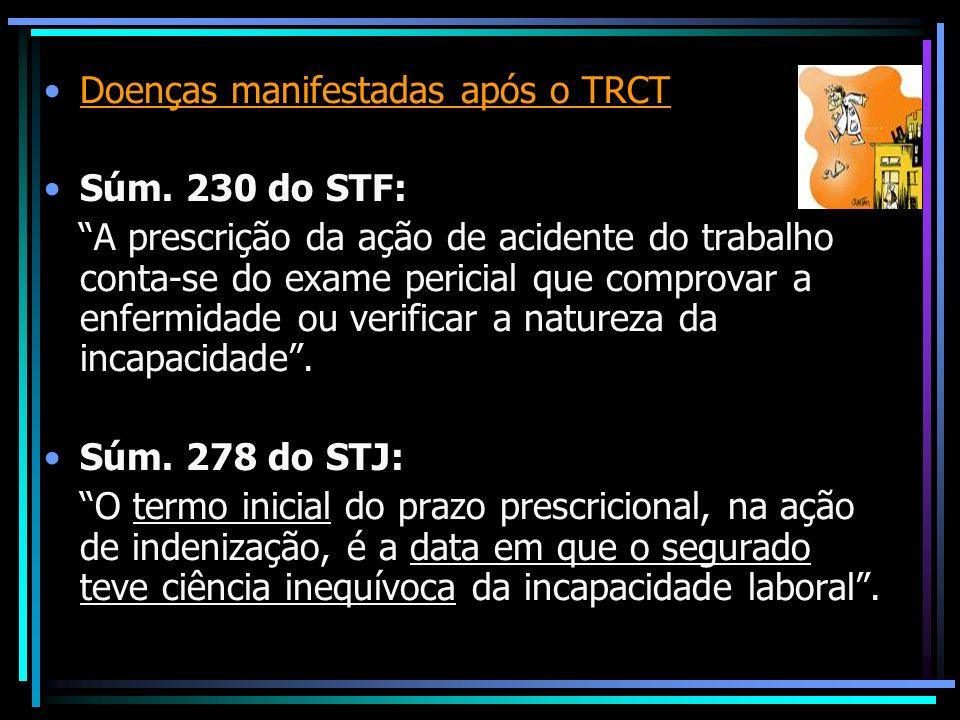 Doenças manifestadas após o TRCT Súm. 230 do STF: A prescrição da ação de acidente do trabalho conta-se do exame pericial que comprovar a enfermidade