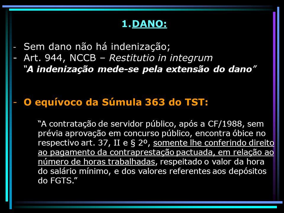 1.DANO: - Sem dano não há indenização; -Art. 944, NCCB – Restitutio in integrum A indenização mede-se pela extensão do dano -O equívoco da Súmula 363