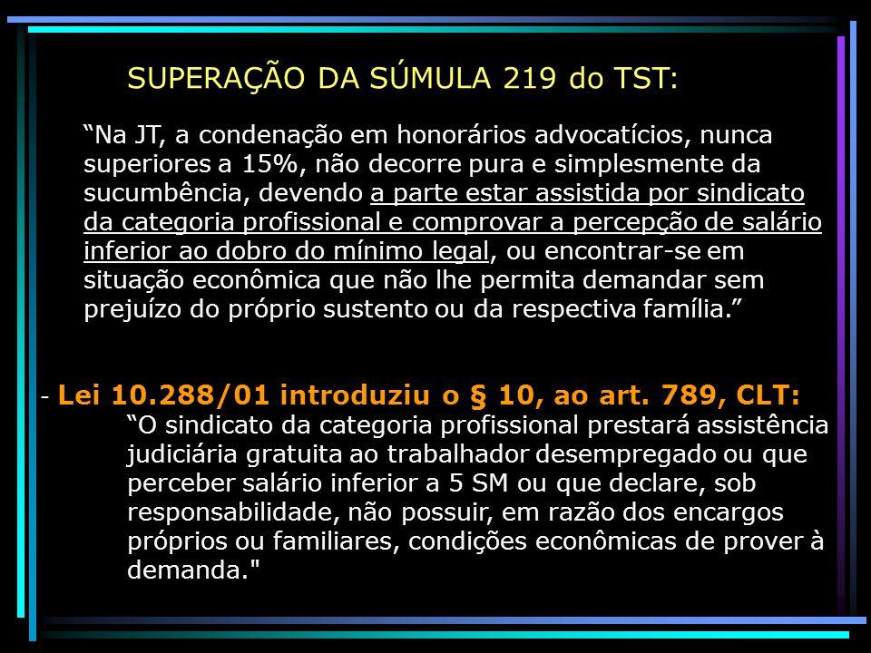 SUPERAÇÃO DA SÚMULA 219 do TST: Na JT, a condenação em honorários advocatícios, nunca superiores a 15%, não decorre pura e simplesmente da sucumbência