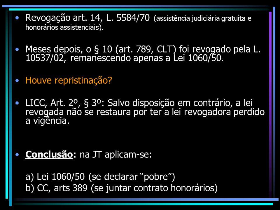 Revogação art. 14, L. 5584/70 (assistência judiciária gratuita e honorários assistenciais). Meses depois, o § 10 (art. 789, CLT) foi revogado pela L.