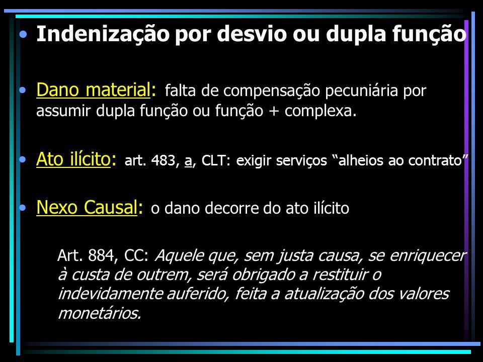 Indenização por desvio ou dupla função Dano material: falta de compensação pecuniária por assumir dupla função ou função + complexa. Ato ilícito: art.