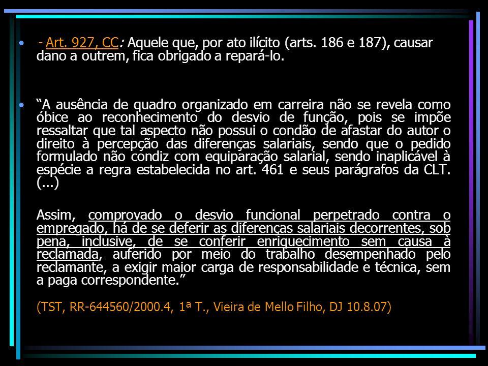 - Art. 927, CC: Aquele que, por ato ilícito (arts. 186 e 187), causar dano a outrem, fica obrigado a repará-lo. A ausência de quadro organizado em car