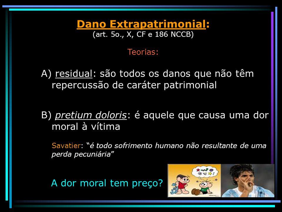 Dano Extrapatrimonial: (art. 5o., X, CF e 186 NCCB) Teorias: A) residual: são todos os danos que não têm repercussão de caráter patrimonial B) pretium