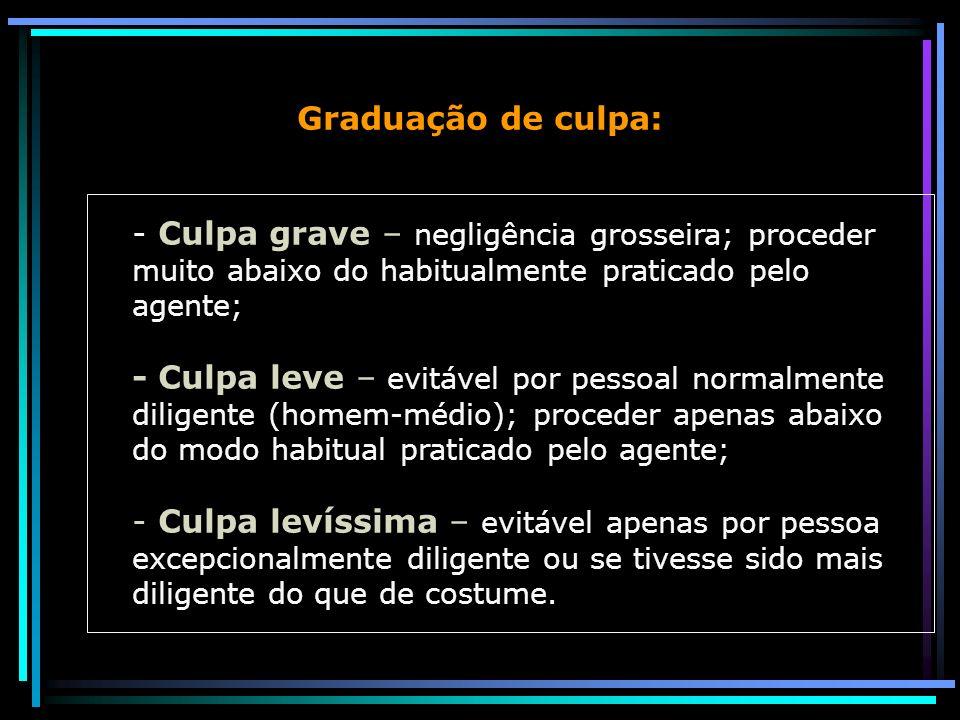 Graduação de culpa: - Culpa grave – negligência grosseira; proceder muito abaixo do habitualmente praticado pelo agente; - Culpa leve – evitável por p