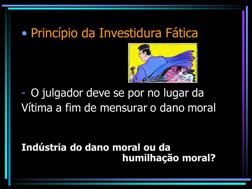 Princípio da Investidura Fática -O julgador deve se por no lugar da Vítima a fim de mensurar o dano moral Indústria do dano moral ou da humilhação mor