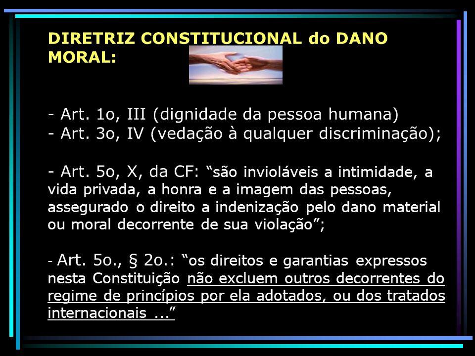 DIRETRIZ CONSTITUCIONAL do DANO MORAL: - Art. 1o, III (dignidade da pessoa humana) - Art. 3o, IV (vedação à qualquer discriminação); - Art. 5o, X, da