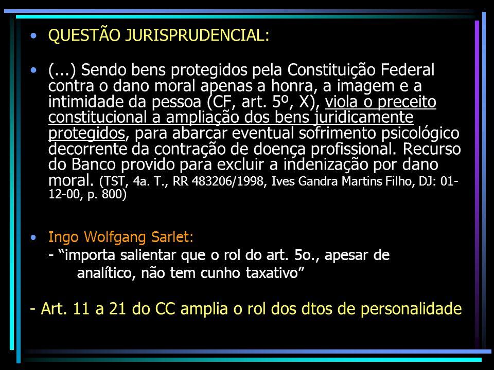 QUESTÃO JURISPRUDENCIAL: (...) Sendo bens protegidos pela Constituição Federal contra o dano moral apenas a honra, a imagem e a intimidade da pessoa (