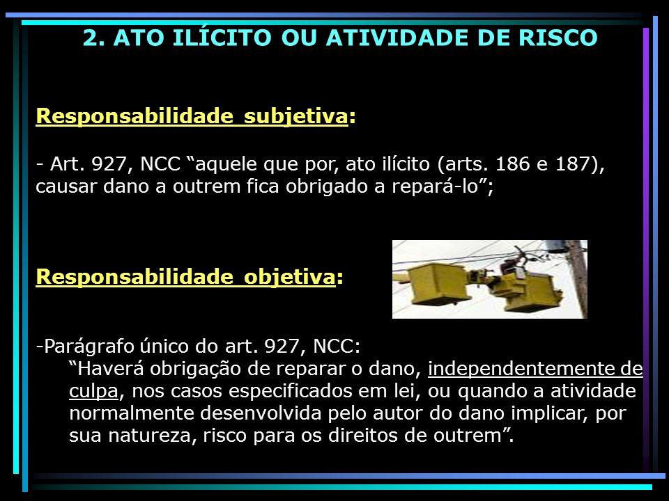2. ATO ILÍCITO OU ATIVIDADE DE RISCO Responsabilidade subjetiva: - Art. 927, NCC aquele que por, ato ilícito (arts. 186 e 187), causar dano a outrem f