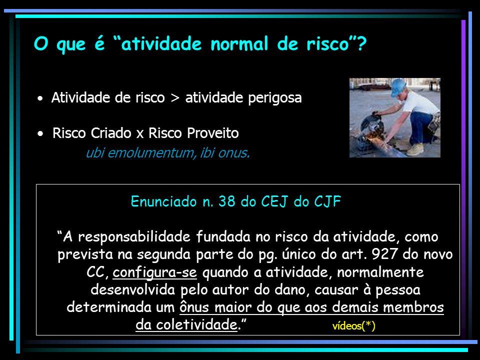 O que é atividade normal de risco? Enunciado n. 38 do CEJ do CJF A responsabilidade fundada no risco da atividade, como prevista na segunda parte do p