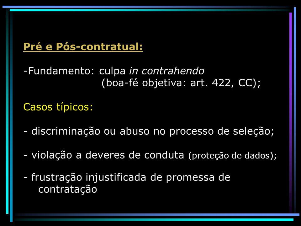Pré e Pós-contratual: -Fundamento: culpa in contrahendo (boa-fé objetiva: art. 422, CC); Casos típicos: - discriminação ou abuso no processo de seleçã