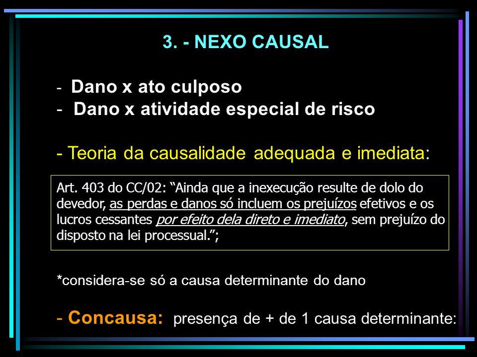 3. - NEXO CAUSAL - Dano x ato culposo - Dano x atividade especial de risco - Teoria da causalidade adequada e imediata: Art. 403 do CC/02: Ainda que a