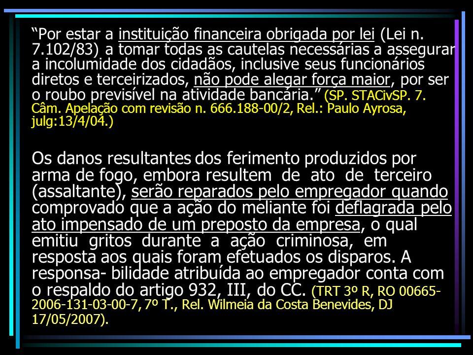 Por estar a instituição financeira obrigada por lei (Lei n. 7.102/83) a tomar todas as cautelas necessárias a assegurar a incolumidade dos cidadãos, i