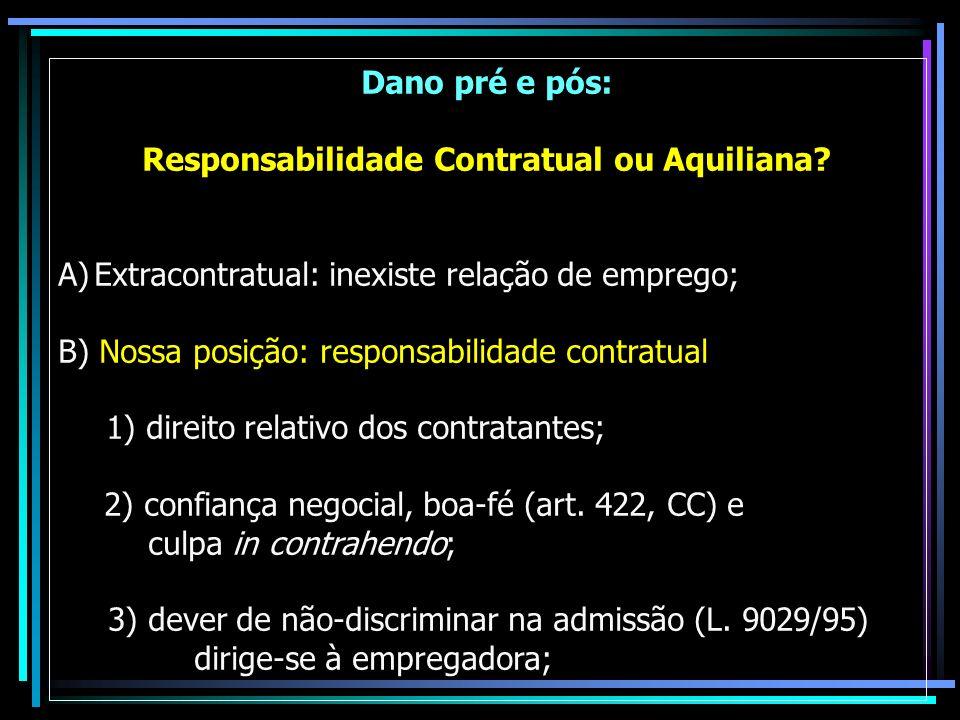Dano pré e pós: Responsabilidade Contratual ou Aquiliana? A)Extracontratual: inexiste relação de emprego; B) Nossa posição: responsabilidade contratua