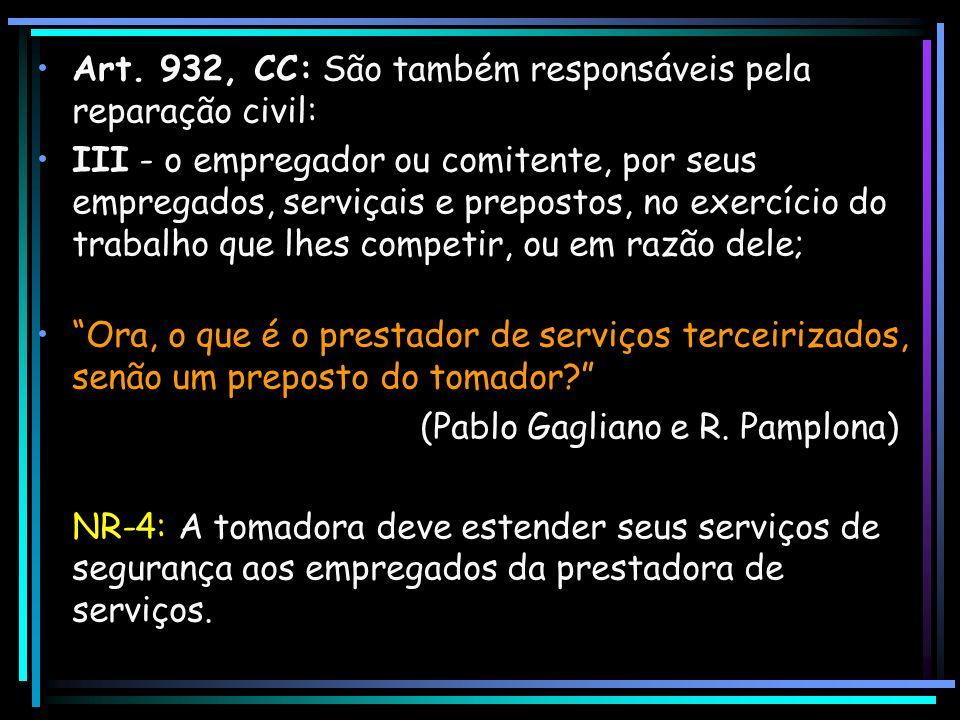 Art. 932, CC: São também responsáveis pela reparação civil: III - o empregador ou comitente, por seus empregados, serviçais e prepostos, no exercício