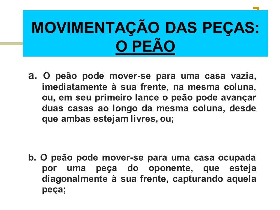 MOVIMENTAÇÃO DAS PEÇAS: O PEÃO a. O peão pode mover-se para uma casa vazia, imediatamente à sua frente, na mesma coluna, ou, em seu primeiro lance o p