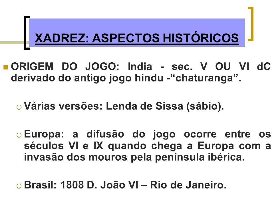 XADREZ: ASPECTOS HISTÓRICOS ORIGEM DO JOGO: India - sec. V OU VI dC derivado do antigo jogo hindu -chaturanga. Várias versões: Lenda de Sissa (sábio).