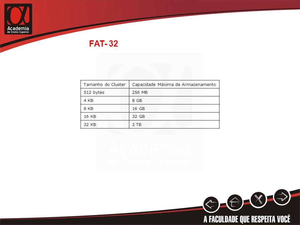 Tamanho do ClusterCapacidade Máxima de Armazenamento 512 bytes256 MB 4 KB8 GB 8 KB16 GB 16 KB32 GB 32 KB2 TB