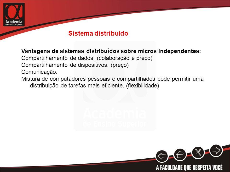 Sistema distribuído Vantagens de sistemas distribuídos sobre micros independentes: Compartilhamento de dados. (colaboração e preço) Compartilhamento d