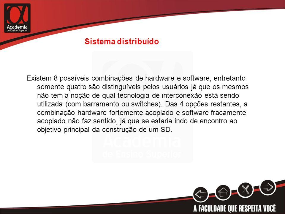 Sistema distribuído Existem 8 possíveis combinações de hardware e software, entretanto somente quatro são distinguíveis pelos usuários já que os mesmo